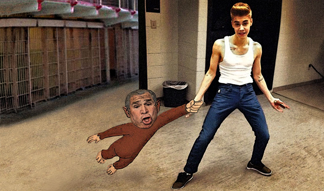 Beiber monkey detained in Europe.