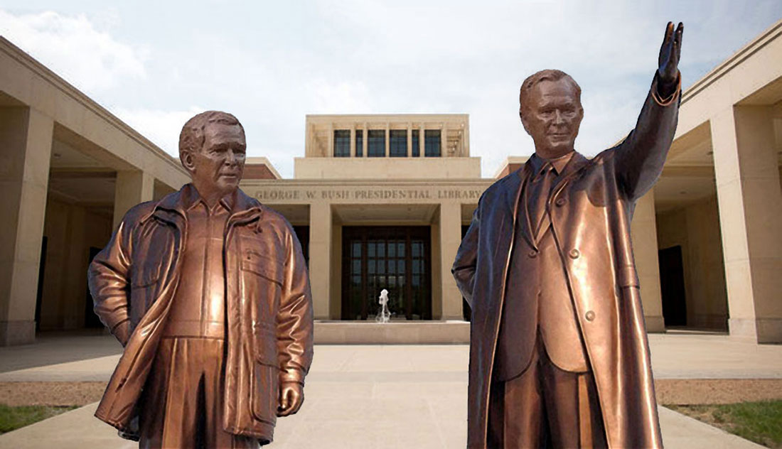 Bush Library statues made in China.