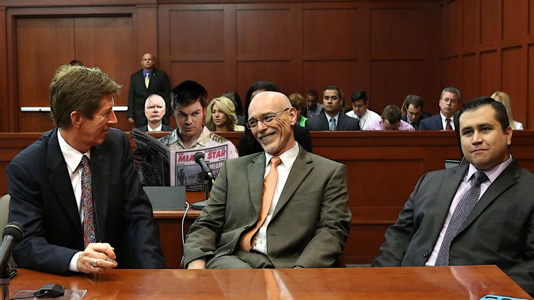 Dexter Morgan watches Zimmerman in court.