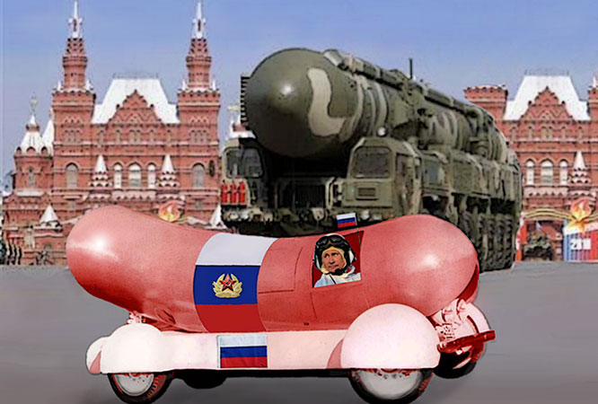 Russian President Putin in vintage 1940's four cylinder drive up suicide wiener bomb.