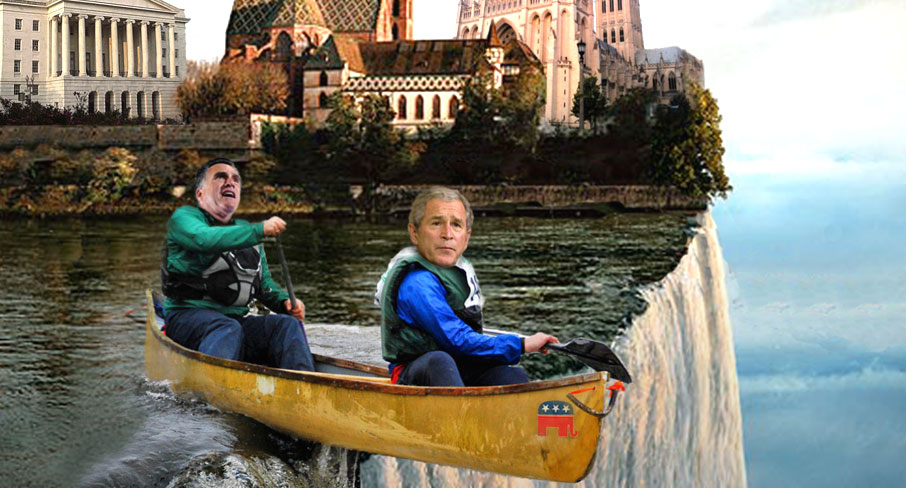 Romney Paddles Along With Bush As His Guide!