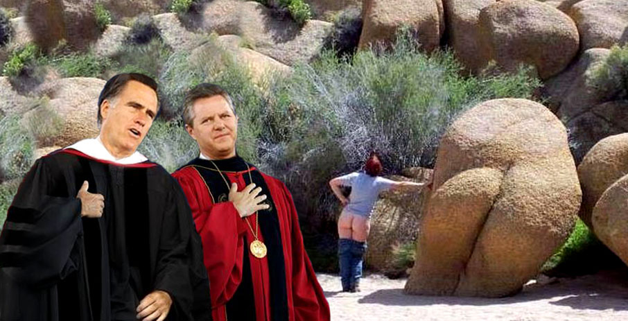 Lord Romney and sect leader in marraige of convenience.